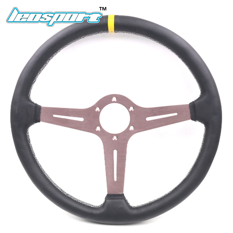 New 15 (380mm) Racing Steering Wheel really Leather white line Steering Wheel flat Racing Steering Wheel цена