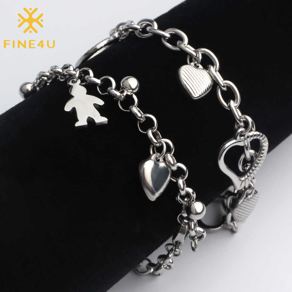 FINE4U B126 Stainless Steel Rolo Chain Bracelet Hollow Heart Charm Bracelets For Boy Girl 2019 Summer Trendy Jewelry