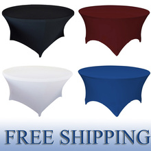 Dearest 6pcs 4ft 5ft 6ft Round Lycra Stretch fitted Spandex Table Cloths Wedding Covers Banquet Linens