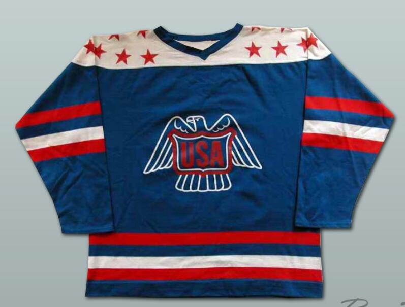 Lee fogolin #20 Team USA Canada Cup Ice Hockey Jersey Custom any name Number Stitched Blue ice hockey jersey usa 30 jim craig 17 jack o callahan 21 mike eruzione steenberge 1980 miracle on ice team sewing size s 3xl
