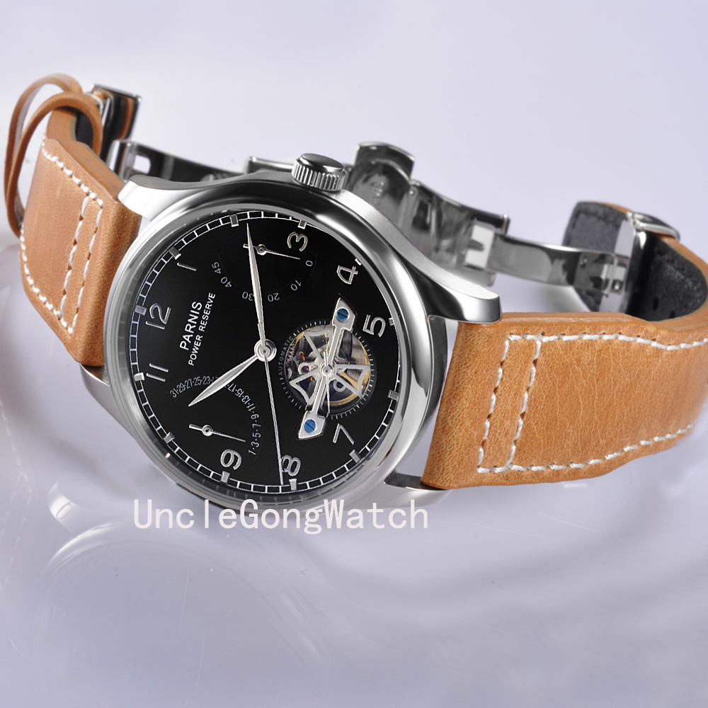 Parnis 43mm Mens Power Reserve Watches, Black Dial Automatic Timepiece , Brown Strap Deployment Buckle Clock PA4305SB power reserve 1x