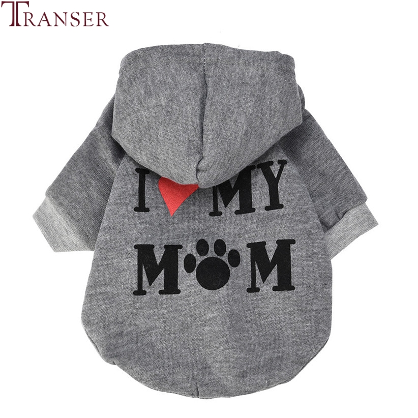 Transer Pet Dog Clothes I LOVE MY MOM Dog Hoodie Coat Small Dogs Pets Puppy Leisure Sports Clothing Outfit 71205