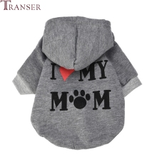 Transer Pet Dog Clothes I LOVE MY MOM Dog Hoodie Coat Small