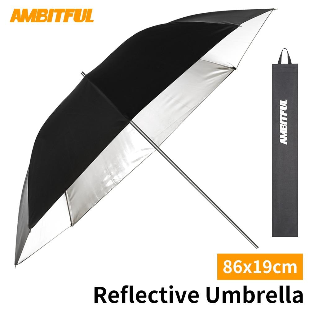 """AMBITFUL 34 """"86 см черный Серебряный Отражатель светоотражающий зонтик из нержавеющей стальной металлический кронштейн с сумкой для переноски для фотостудии Аксессуары для фотостудии      АлиЭкспресс"""