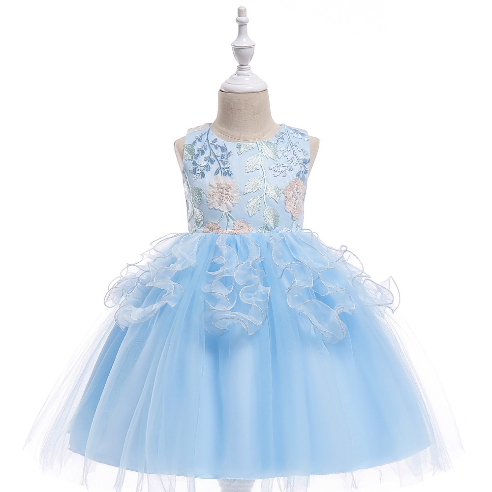 Free shipping 2018 girls' holiday birthday party dress children's gauze princess fluffy concert performance dress JQ-2009