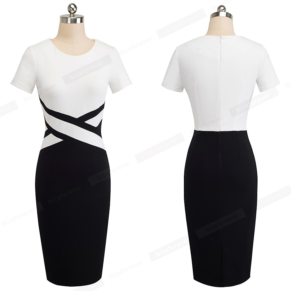 Nice-forever Vintage Elegant Contrast Color Patchwork Wear to Work vestidos Business Party Office Women Bodycon Dress B463 17