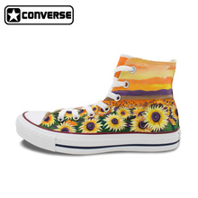 Woman Man Converse All Star Custom Sunflower Flower Hand Painted Shoes High Men Women's Sneakers Skateboarding Shoes Gifts