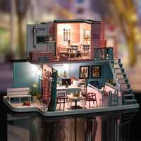 iiE CREATE Dollhouse K034 Pink Cafe DIY Kit With Lights And Dust Cover