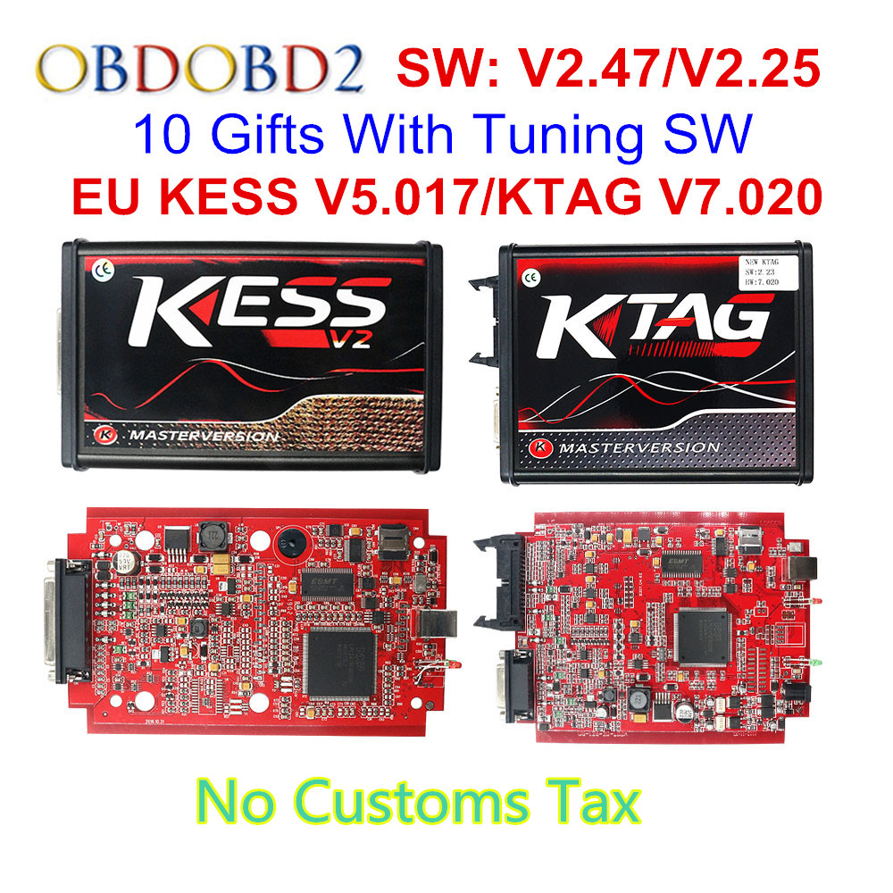 V2.47 Online EU Red KESS V2 5.017 Full Master OBD2 Manager Tuning KESS V5.017 4 LED KTAG V7.020 BDM Frame K-TAG 7.020 ECU Chip(China)