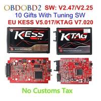 V2.47 Online EU Red KESS V2 5.017 Full Master OBD2 Manager Tuning KESS V5.017 4 LED KTAG V7.020 BDM Frame K TAG 7.020 ECU Chip