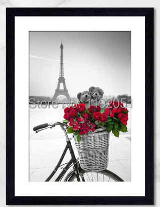 modern home decorative art paintings canvas prints romance Eiffel tower red flowers bicycles black and white  single panel