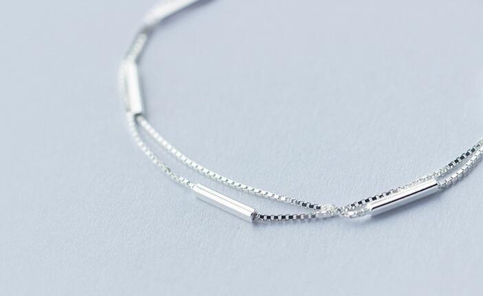 Lady's Minimalist REAL. 925 Sterling Silver Multi-Rows Double layers Geometric Sticks Bar Chain Bracelet Slim Jewelry GTLS316