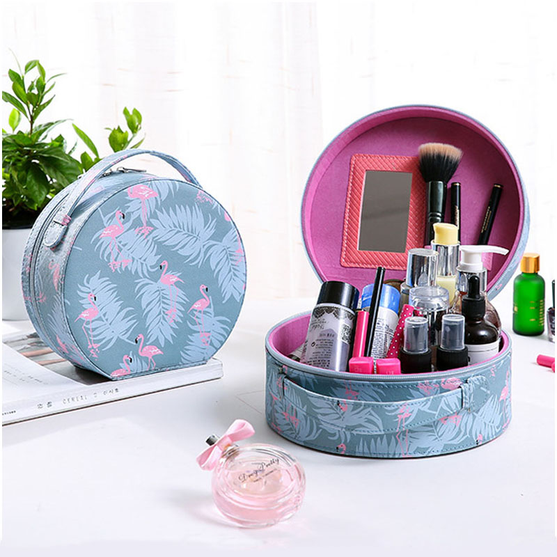 QEHIIE Brand Cosmetic Bag Organizer Travel Beautician Women Cosmetic Case Flamingo Series Makeup Bag Essential Cosmetic Brush цена