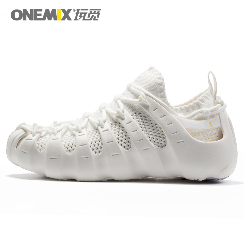 Onemix La Nueva Sra Roma calza los zapatos del yoga suave, zapatillas de deporte al aire libre transpirável duraderos blancas