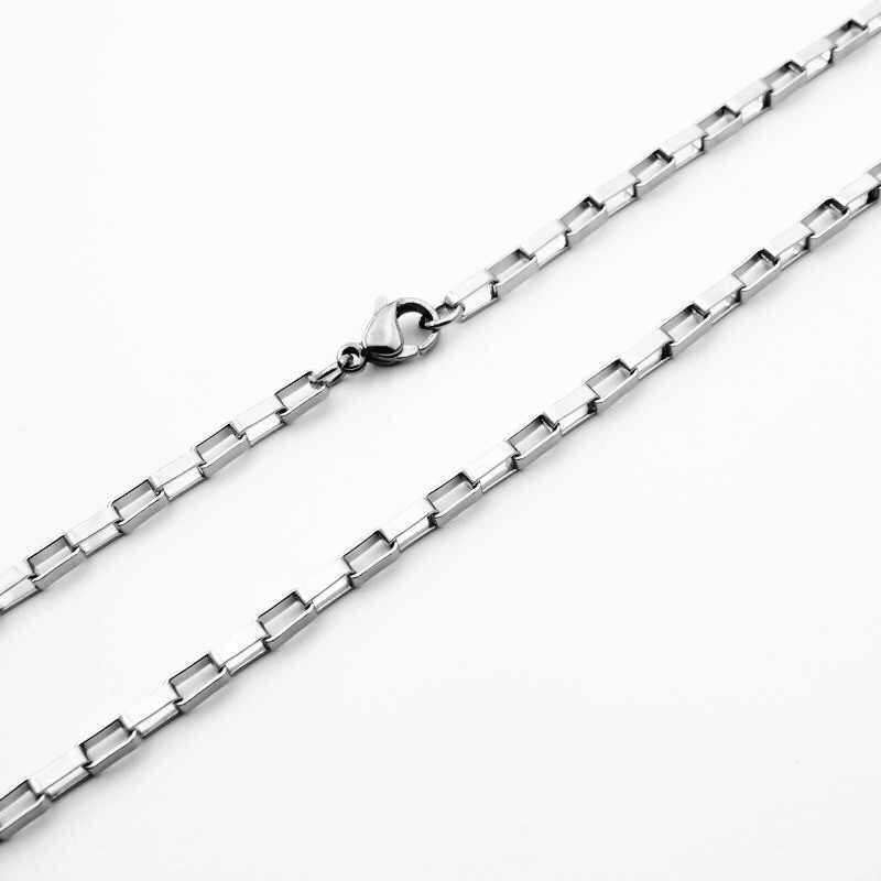 カスタマイズ 1.5/2/2.5/3/4 ミリメートル幅ファッション 316L ステンレス鋼ボックスチェーンネックレス男 & 女性ステンレス鋼ジュエリー 40 センチメートル-90 センチメートル