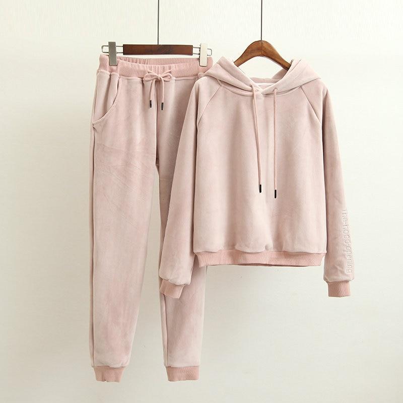 Hot High-end Women Set Velvet Tracksuit For Women Velour 2 Piece Sets Fashion Letter Embroidery Hooded Sweatshirt+Pants Suits