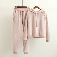 Hot High end Women Set Velvet Tracksuit for Women Velour 2 Piece Sets Fashion Letter Embroidery Hooded Sweatshirt+Pants Suits