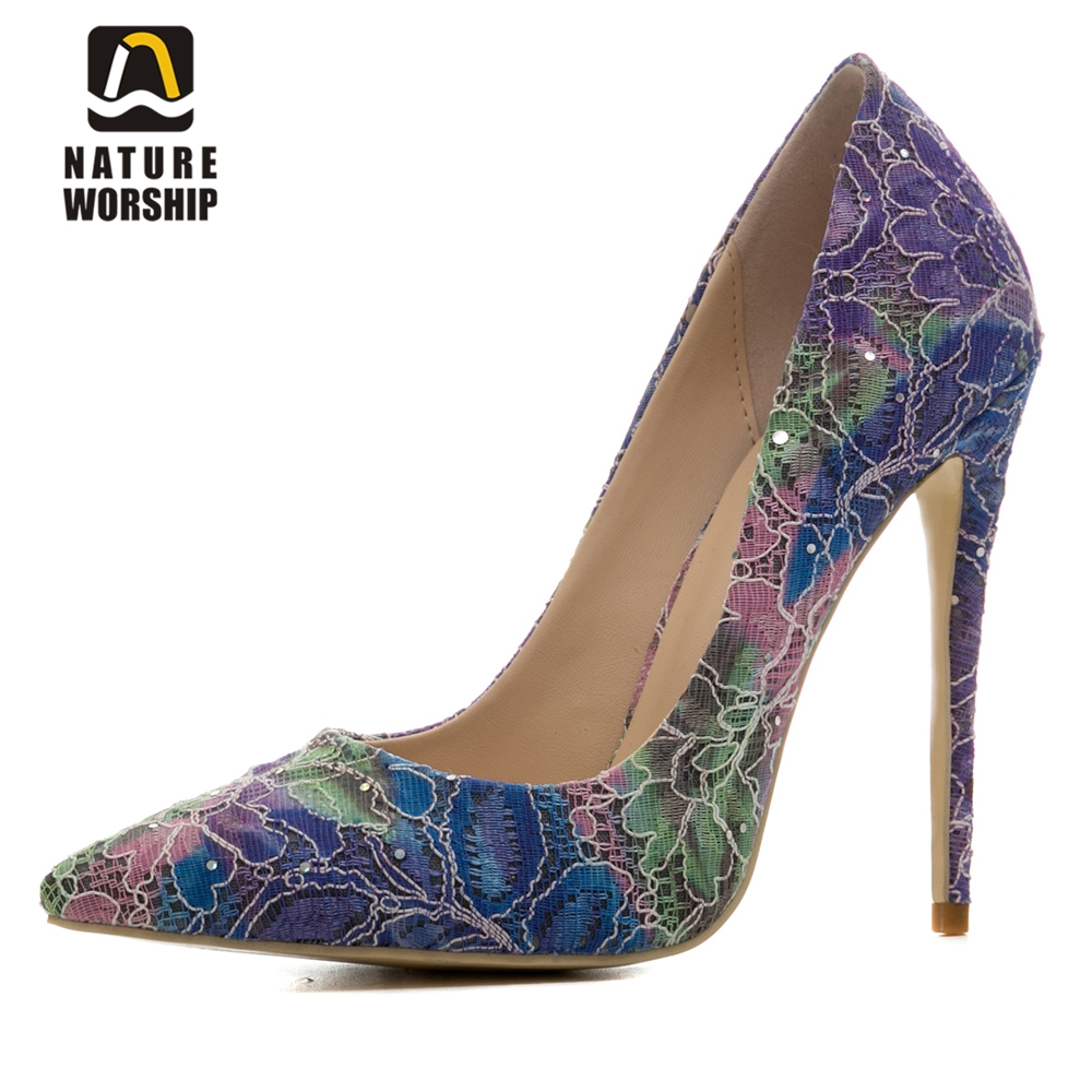 New fashion spring autumn women shoes pointed toe high heels for women <font><b>pumps</b></font> <font><b>12</b></font> <font><b>cm</b></font> heels <font><b>pumps</b></font> shallow flower shoes for women image