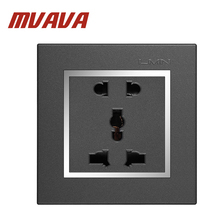 Free shipping MVAVA Multi-functional 5 Pins wall socket Electrical wiring light Power Outlet 13A 110~250V,Chromed Frame PC panel