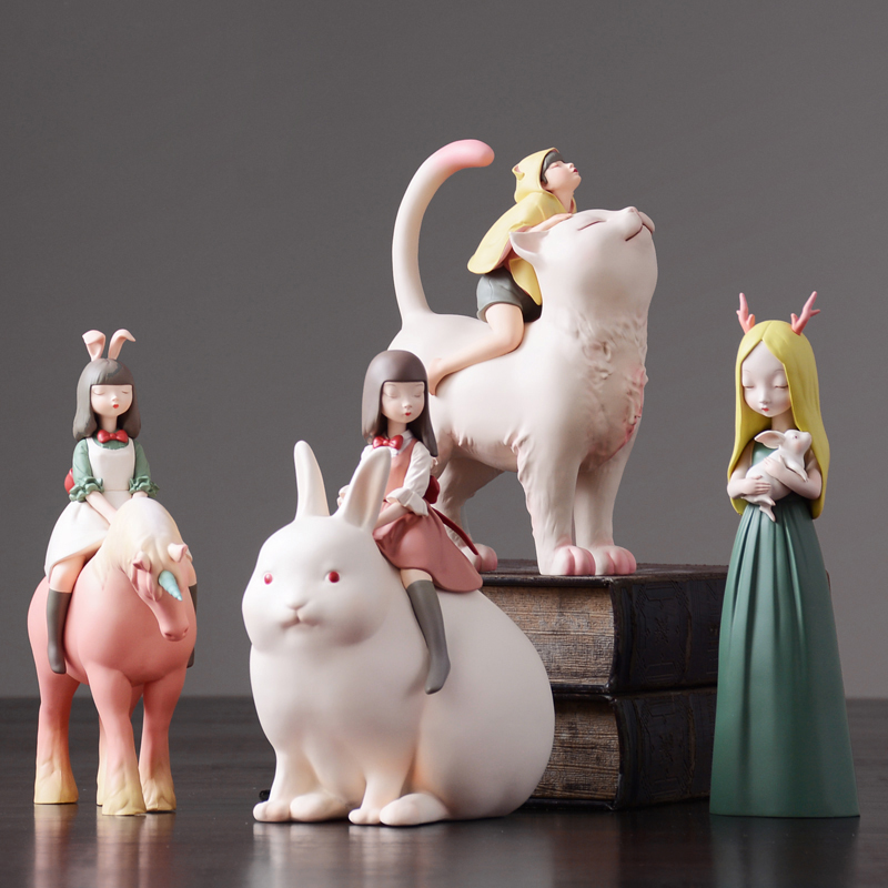 Nordic Arts and Crafts decoration Fairy Tale Character Animals Night walking Unicorn miniature figurines home decor