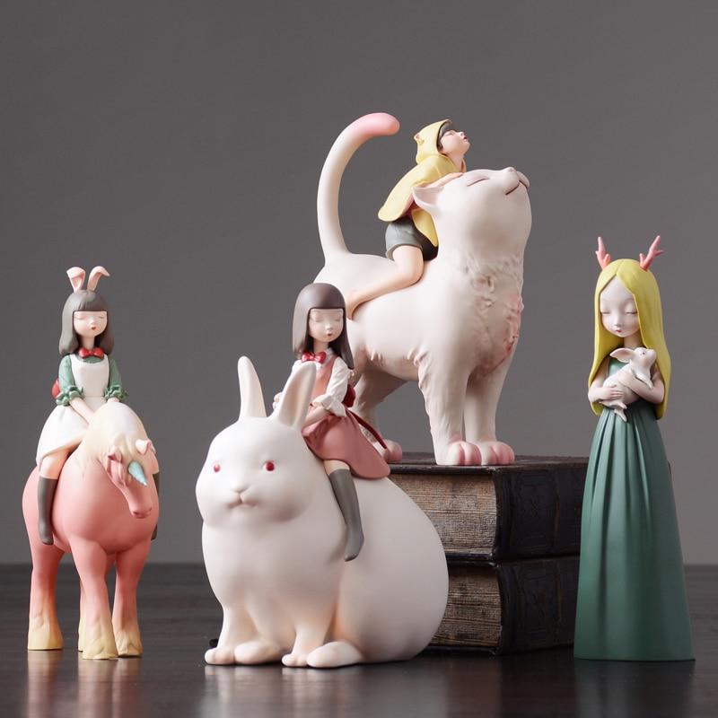 Nordic sztuki i rzemiosło dekoracji bajki charakter zwierząt spacery nocne jednorożec miniaturowe figurki akcesoria do dekoracji domu w Figurki i miniatury od Dom i ogród na  Grupa 1