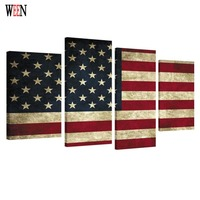 HD Print Framed American Flag 4PC Canvas Art Wall Pictures For Living Room Large Modern Cuadros