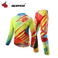 SCOYCO профессиональный Мотокросс Мотоцикл Джерси комплект гонки рубашка костюм езда внедорожных Штаны брюки спортивные Костюмы