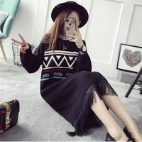 Autumn Winter New Style Print Triangle Sweater Dress O Neck Knitted Tassel Dress Mid Long
