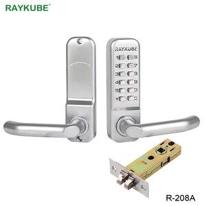 Image 1 - Блокировка двери RAYKUBE с паролем, цифровая механическая клавиатура с кодом, дверной замок без ключа, цинковый сплав, водонепроницаемый телефон