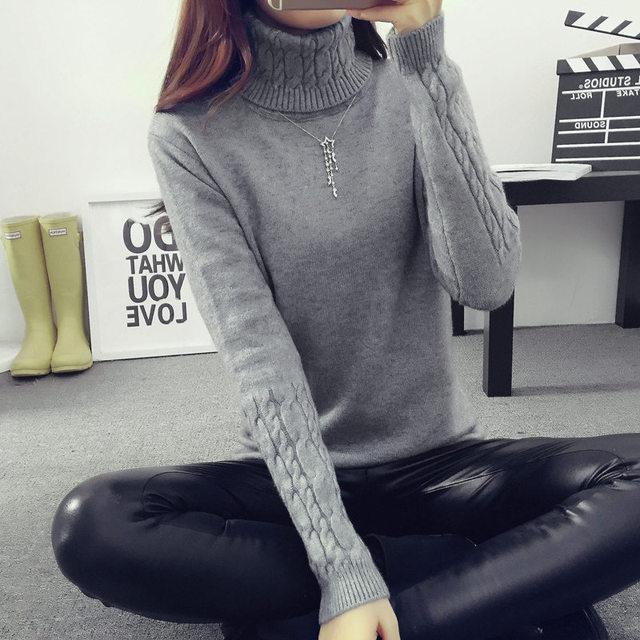 2017 Otoño Invierno Mujeres Suéteres y Pullovers de Cuello Alto Manga Larga de Punto Sólido Chandail Femme Maglioni Donna Inverno