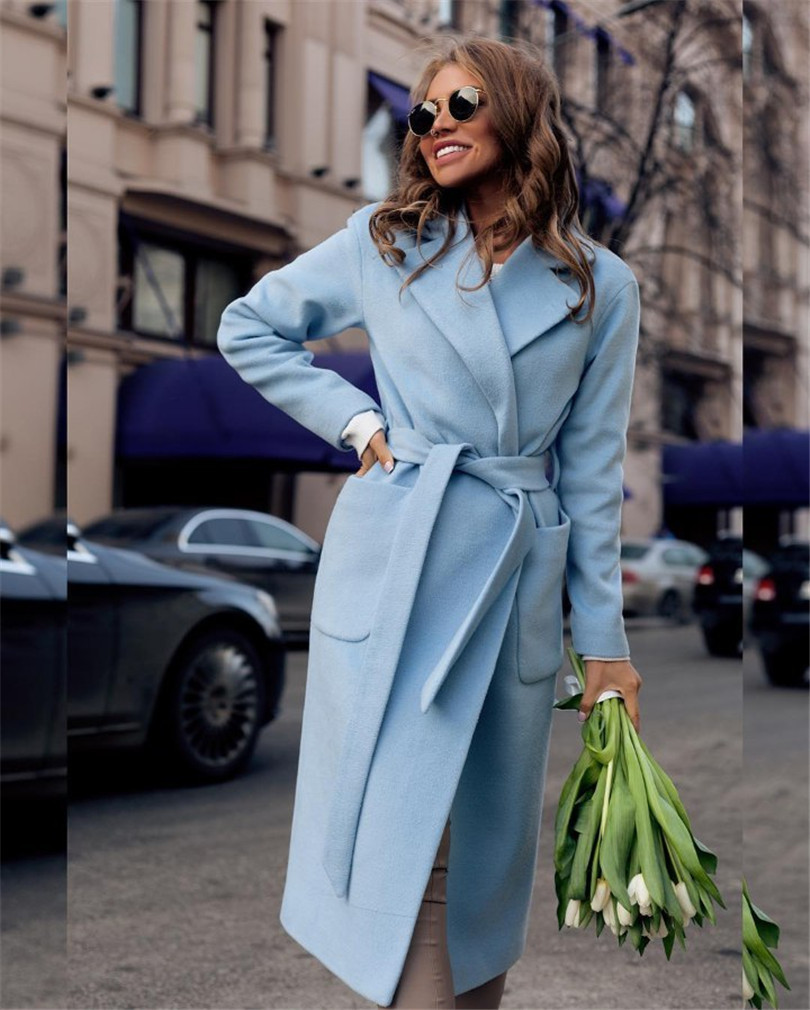 Winter Fashion New Lapel Long Sleeves woman coats With Solid Color Plush Long Ladies Coat Casual Women'S Clothing