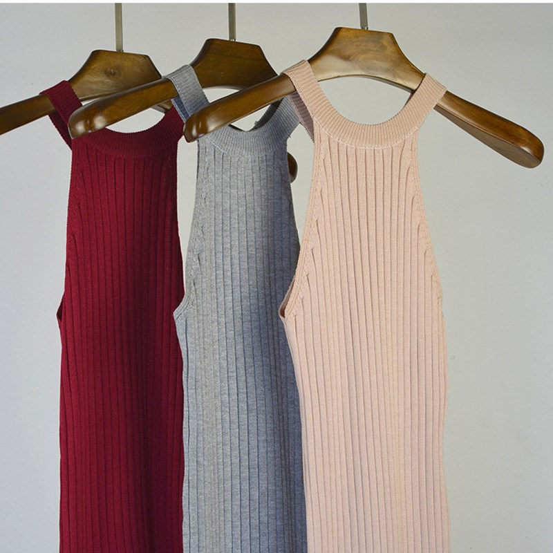 2019 Fashion Women Knitted Halter Neck Bodycon Dress Sexy Solid Summer Dress Casual Sleeveless Split Maxi Dress in Dresses from Women 39 s Clothing