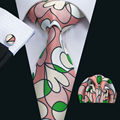 LS-1300 New Arrival Men`s Print Silk Tie High Quality Brand Design Pink Necktie Neckwear Hanky Cufflinks Set For Party Wedding