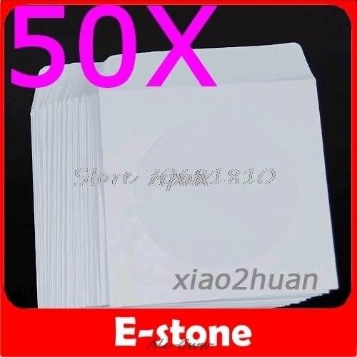 50 pièces/lot 50 papier CD DVD rabat manches étui couverture enveloppes 5 pouces