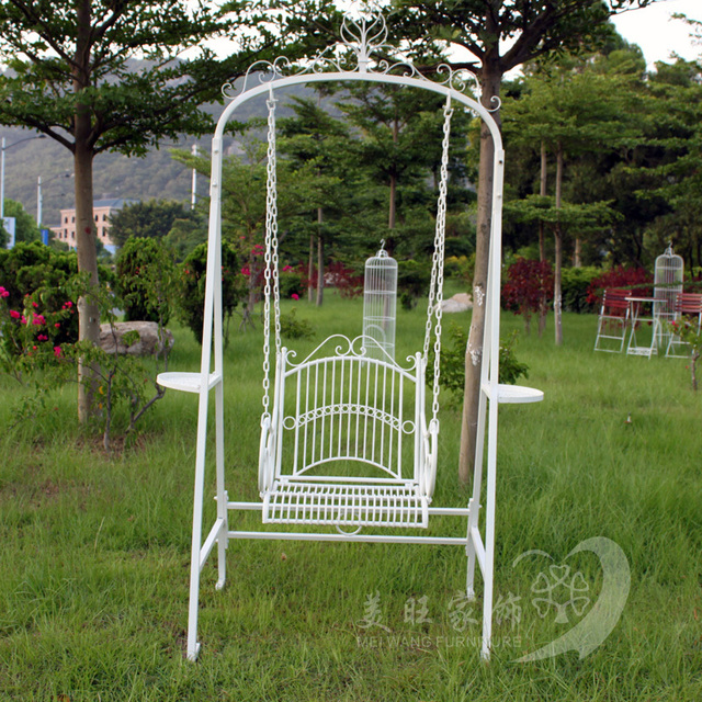 Continental Iron White Rocking Chair Outdoor Swing Hammock Swing Indoor  Balcony Basket Single Park Rocking Chair