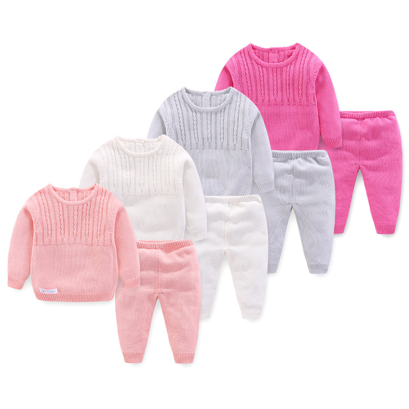 Solid Knitting Noewborn Baby Clothing Sets 2pcs Long Sleeve Outwear Jacket+Pants New Spring Autumn Baby Boys Girls Clothes Set