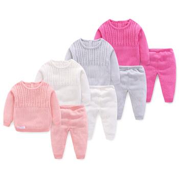 Solidne Knitting Noewborn zestawy ubrań dla niemowląt 2 szt Z długim rękawem zużyta kurtka + spodnie nowa wiosna jesień zestaw ubrań dla chłopców tanie i dobre opinie LOKEDIKE Moda COTTON Poliester Jersey Unisex Pełna Cartoon O-neck Swetry REGULAR Cotton Blend Z451 Płaszcz Pasuje prawda na wymiar weź swój normalny rozmiar