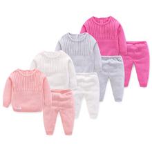 Solidne Knitting Noewborn zestawy ubrań dla niemowląt 2 szt Z długim rękawem zużyta kurtka + spodnie nowa wiosna jesień zestaw ubrań dla chłopców tanie tanio LOKEDIKE Moda COTTON Poliester Jersey Unisex Pełna Cartoon O-neck Swetry REGULAR Cotton Blend Z451 Płaszcz Pasuje prawda na wymiar weź swój normalny rozmiar