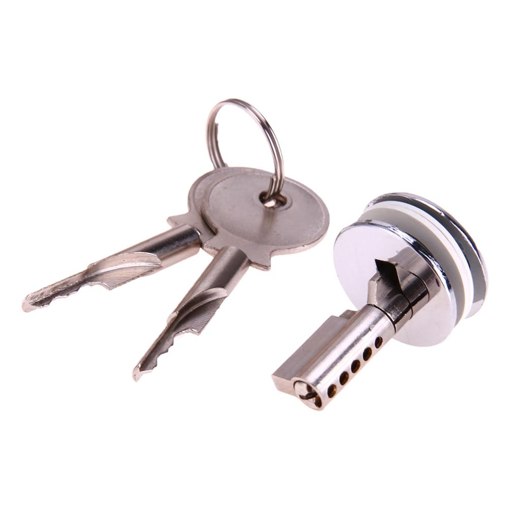 Glass Lock Zinc Alloy Showcase Push Glass Display Cabinet Cylinder Lock With 2 Keys