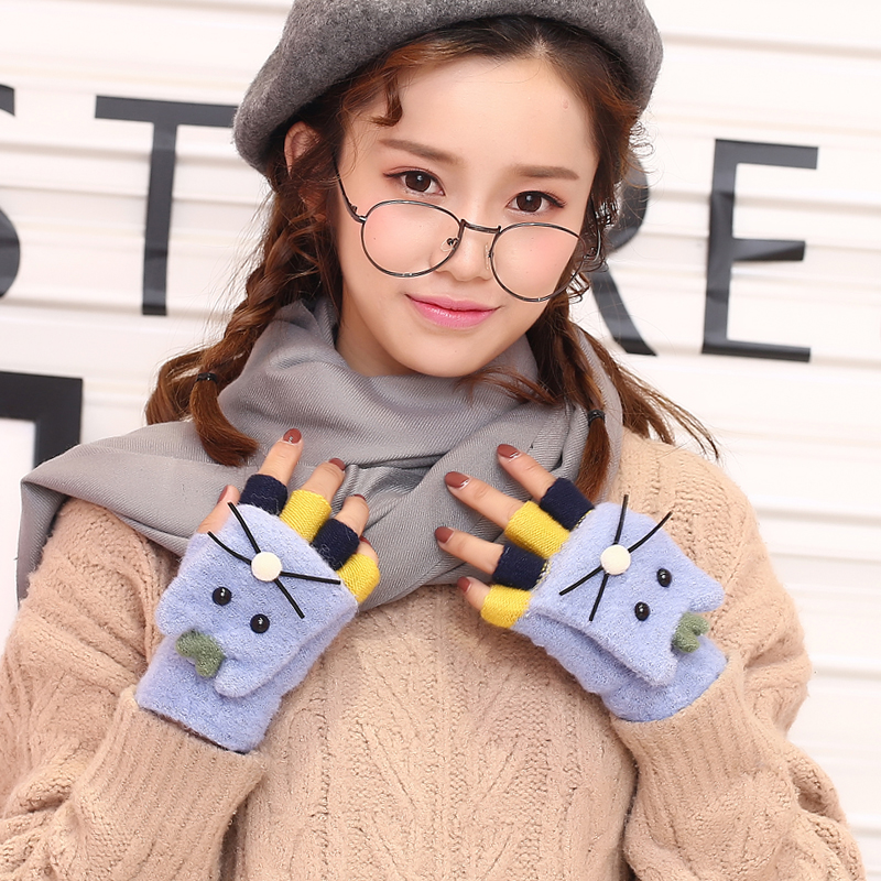 2017 New Style Cute Cat GlovesWinter Women Fingerless Gloves Multifunctional Cute Warm Patchwork Mittens For Students And Girs