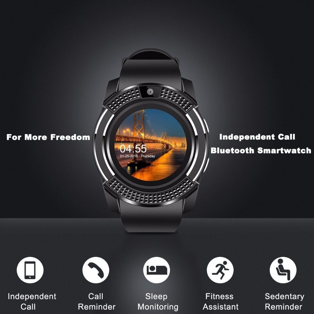 V8 SmartWatch Bluetooth Smartwatch Touch Screen Wrist Watch with Camera/SIM Card Slot, Waterproof Smart Watch DZ09 X6 VS M2 A1 18