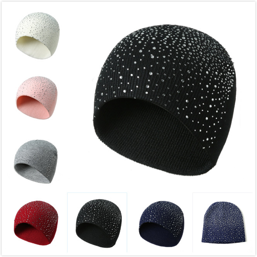 Winter Autumn   Beanie   Hats Women Soft Knitting   Skullies     Beanies   Hat Female Fashion Rhinestone Cotton Hat Unisex Chapeu Feminino