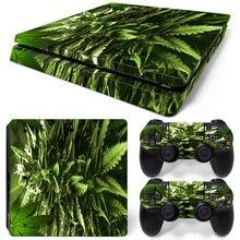 Transporte Da Gota livre Verde Weed Vinil Decalque para PS4 Pele adesivos para sony playstation 4 console e 2 controladores decorativ #0194