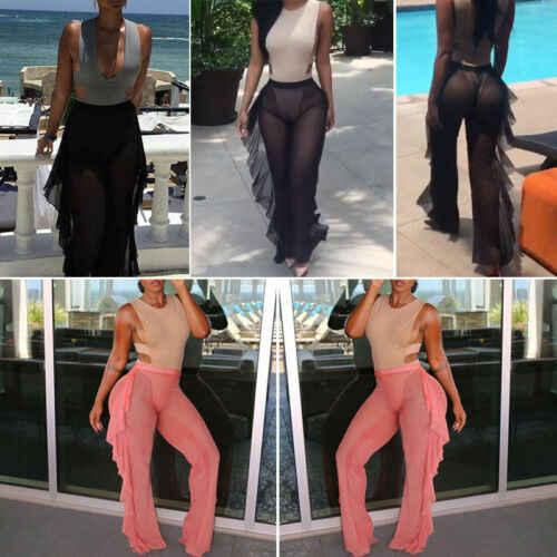 夏女性パンツセクシーなスウェットパンツ宮殿レディースフリルビーチハイウエストワイド脚ズボン S-XXL