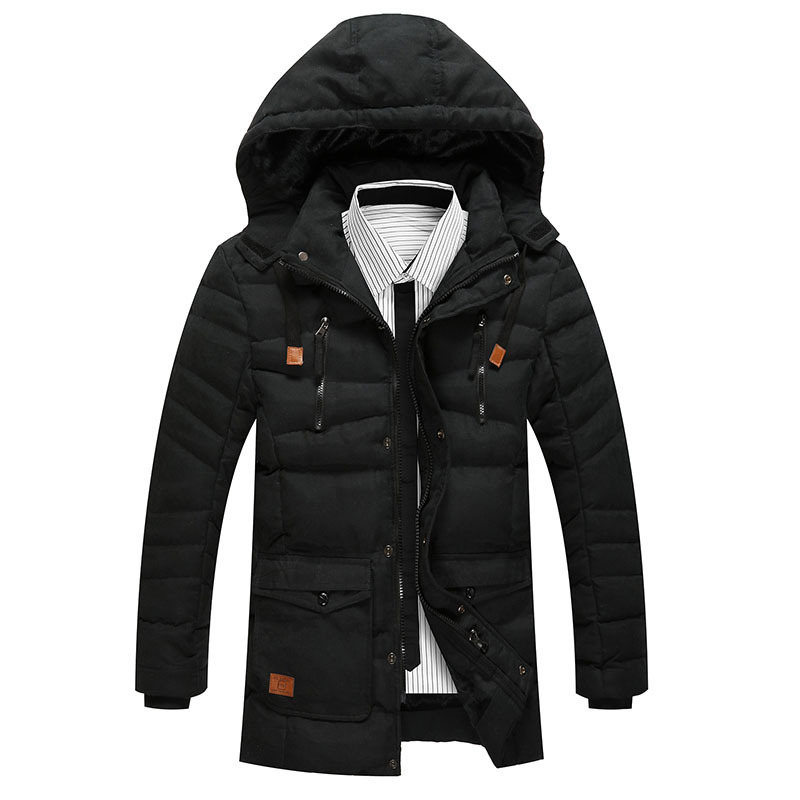 Winter Jacket Men Hat Detachable Warm Coat Cotton-Padded Outwear Mens Coats Jackets Hooded Collar Slim Clothes Thick Parkas Y142 parka mens winter jacket long sleeve warm men coats cotton slim hooded outwear coat casual male padded jackets clothing