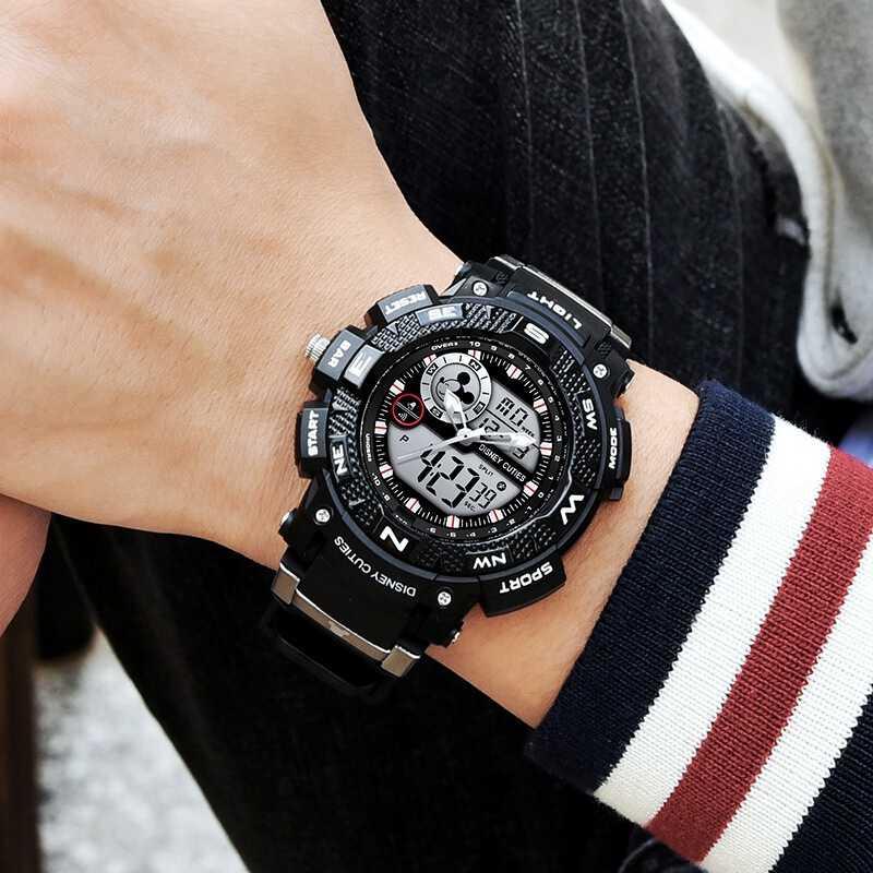 b3e1a5838 ... Reloj LED de goma impermeable multifuncional de deporte para hombre de Disney  relojes de marca superior ...