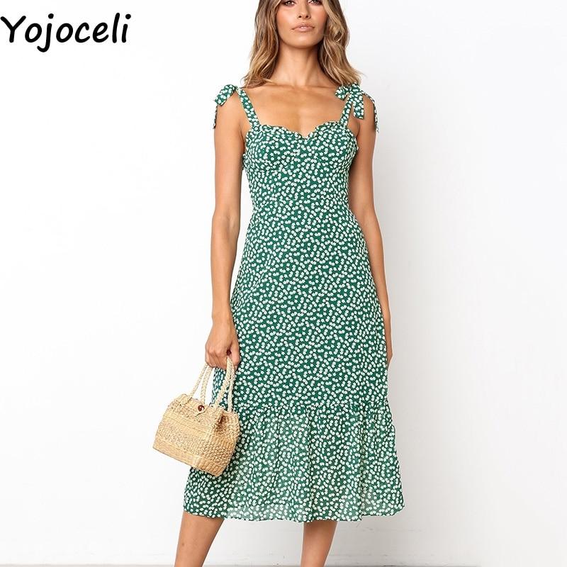 Yojoceli Sexy ruffle floral print long dress women Summer elegant strap chiffon sundress Bow beach casual dress vestidos