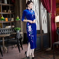 Fashion 2018 Velvet Cheongsam Long Qipao Dress Traditional Chinese Dresses China Clothing Store Robe Orientale Collars