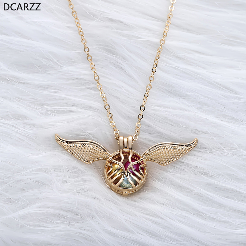 2019 Golden Snitch Angel Pearl Cage Necklace the Gold Cage Locket Pendant Long Chain Pearls Jewellery Gift for Harri Potter Fans locket