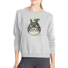 Słynnej kreskówki kot Totoro bluzy z kapturem dziewczyna z długim rękawem plus rozmiar bluza z kapturem Pulower bawełniany bluza wiosna odzież codzienna tanie tanio Kobiety Poliester COTTON Na co dzień Frotte Pełna REGULAR Drukuj Swetry O-neck women Hoodies 280g